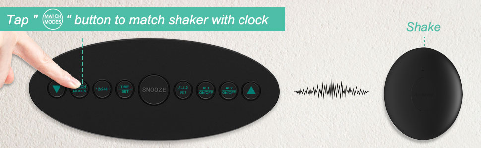 match the digital alarm clock with bed shaker