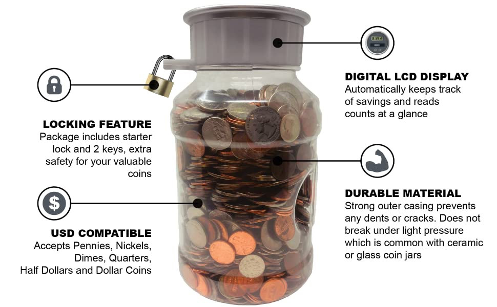 locking coin bank product infographics
