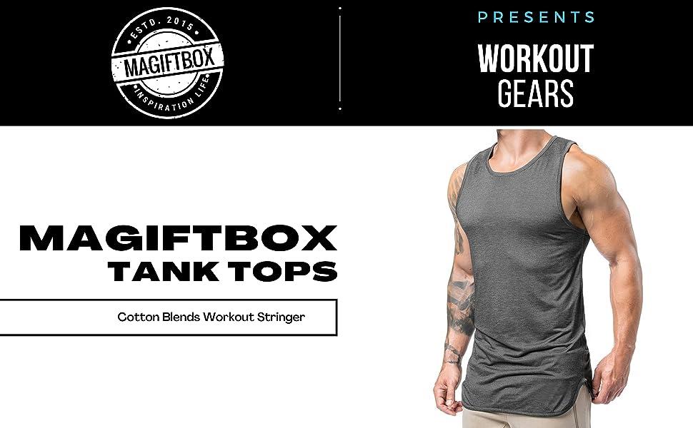 Magiftbox Mens Extended Scoop Workout Stringer Tank Tops Gym Shirts for Men Black/Khaki T05