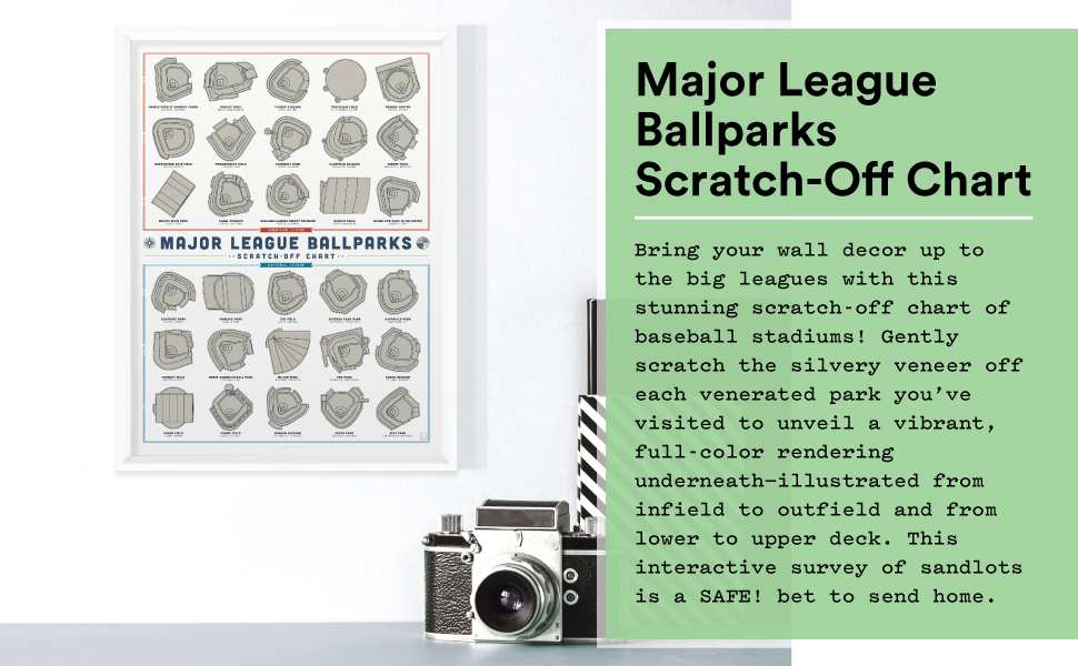 Baseball Stadium print in white frame on white wall with text block