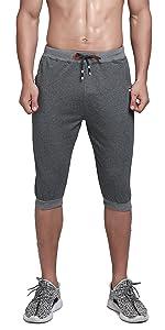 Men's Cotton Casual Shorts 3/4 Jogger Capri Pants Breathable Below Knee Short Pants