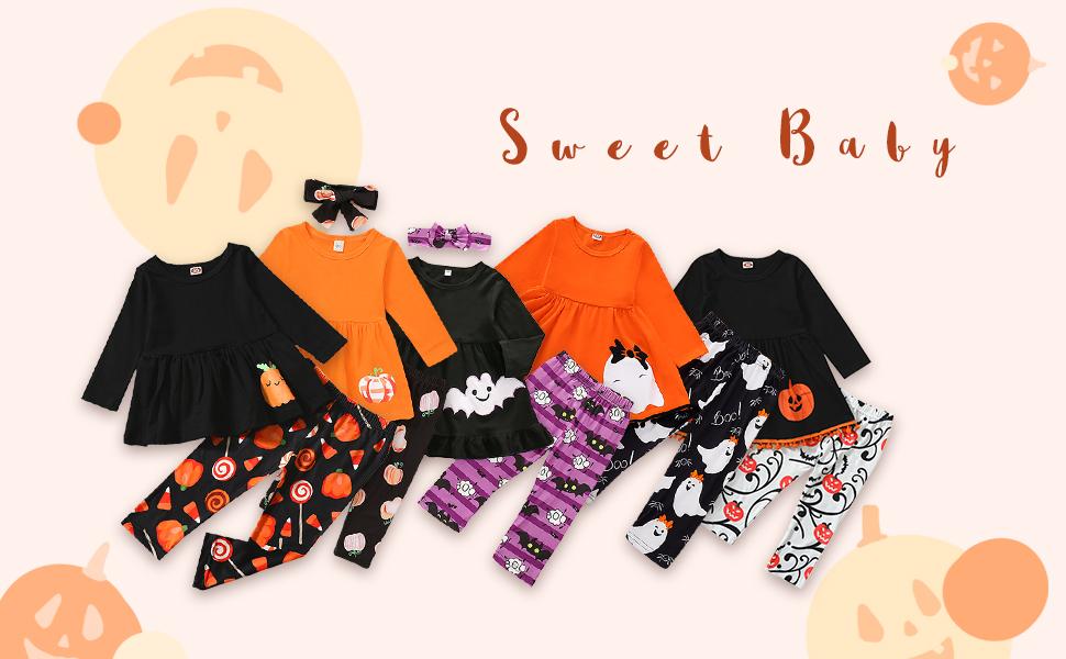 lovely girl orange dress top+ghost print pants set for halloween