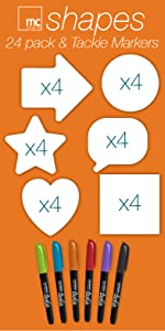 Heart Star Circle Arrow Speak dry erase sticky notes post-it replacement