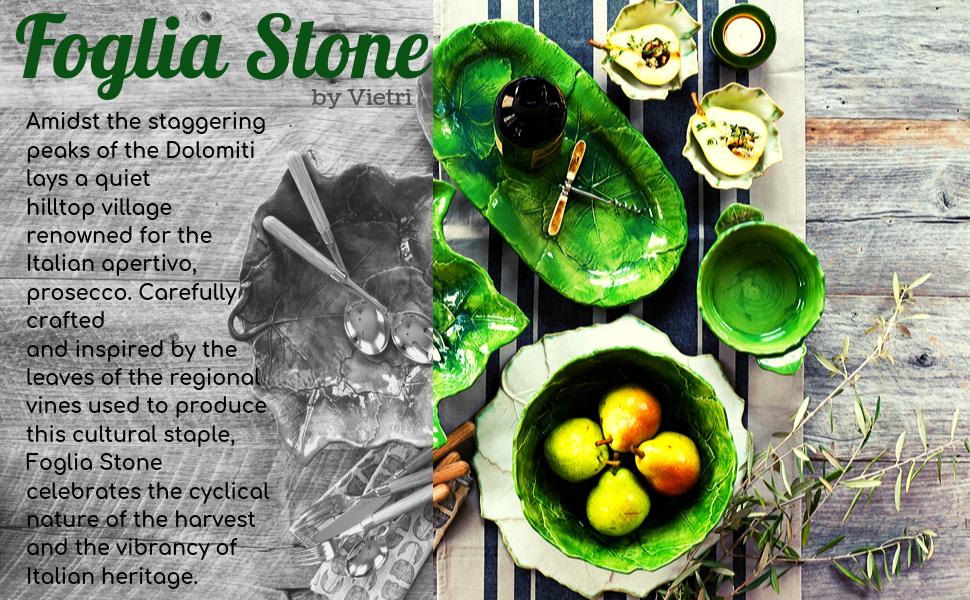 vietri foglia stone stoneware ceramic dish italian made european handmade green white