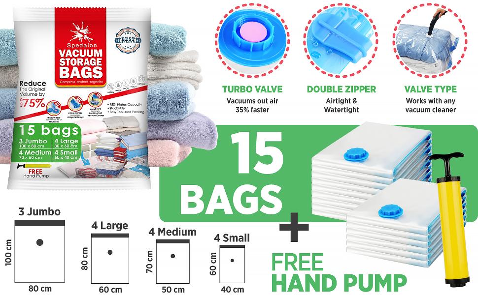 Vacuum Storage Bags - Pack of 15 (3 Jumbo + 4 Large + 4 Medium + 4 Small) ReUsable Space Savers