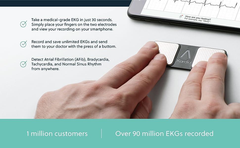 Medical-grade EKG in 30 seconds. Detect AFib, Bradycardia, Tachycardia, and Normal Sinus Rhythm