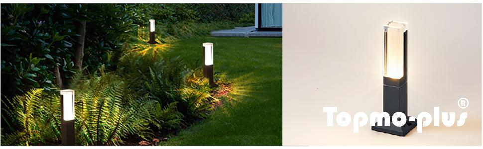 Topmo-plus Lámpara de jardín / Poste de Exterior iluminación / 7W Puri LED COB está fija 770 lm IP65 / aluminio / acrílico Poste de Terraza 30cm blanco cálido antracita: Amazon.es: Iluminación
