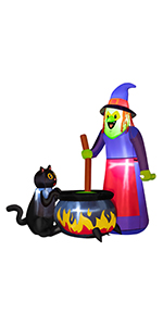 Inflatables Witch with Cat and Cauldron
