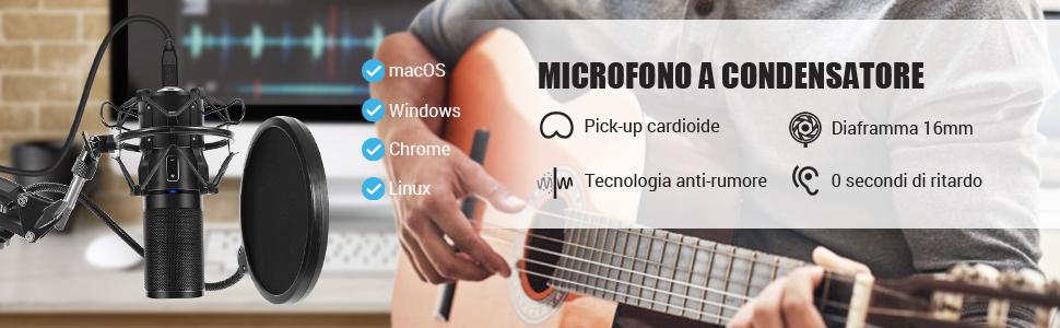 TONOR USB Microfono di Registrazione a Condensatore per Computer Desktop per Laptop MAC o Windows Microfono Cardioide per Conversazione Studio di Registrazione YouTube Voice Over