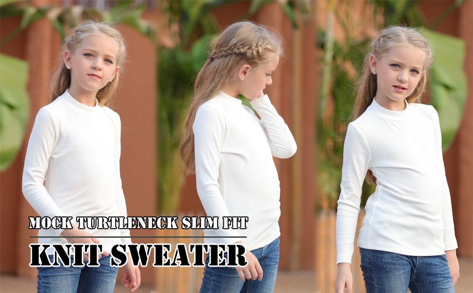 GORLYA Girls Long Sleeve Soft Knit Mock Turtleneck Slim Fit Pullover Sweater Top for 4-14T Kids