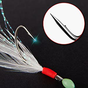 4hook Mackerel Multi Color Natural Feathers Fishing Set Rig Deep Sea Saltwater