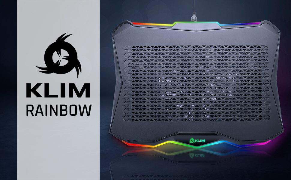 KLIM rainbow, supporto pc portatile, raffreddamento pc portatile, supporto pc, ventola ps4