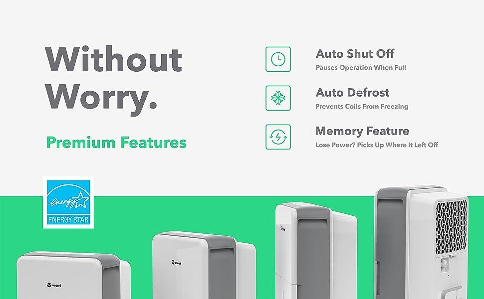 Premium Dehumidifier by Vremi | Auto Shut Off + Auto Defrost + Memory Feature