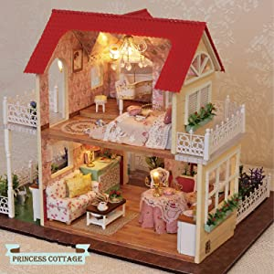 DIY Miniatures Dollhouse Kits 1:24 Scale Simple Castle Model Building Dollhouse for Beginner Easy to Assemble Cute Furniture Accessories Toys Mini Pink Princess Bedroom with Music Box Dust Cover