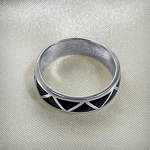 925 Sterling Silver Onyx Inlay Southwestern Style Wedding Band Ring