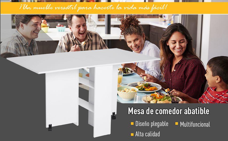 Outsunny HOMCOM Mesa Plegable de Madera con Ruedas Comedor ...