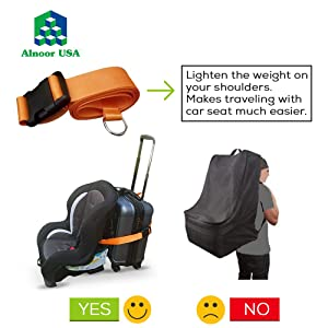 car seat travel belt to luggage