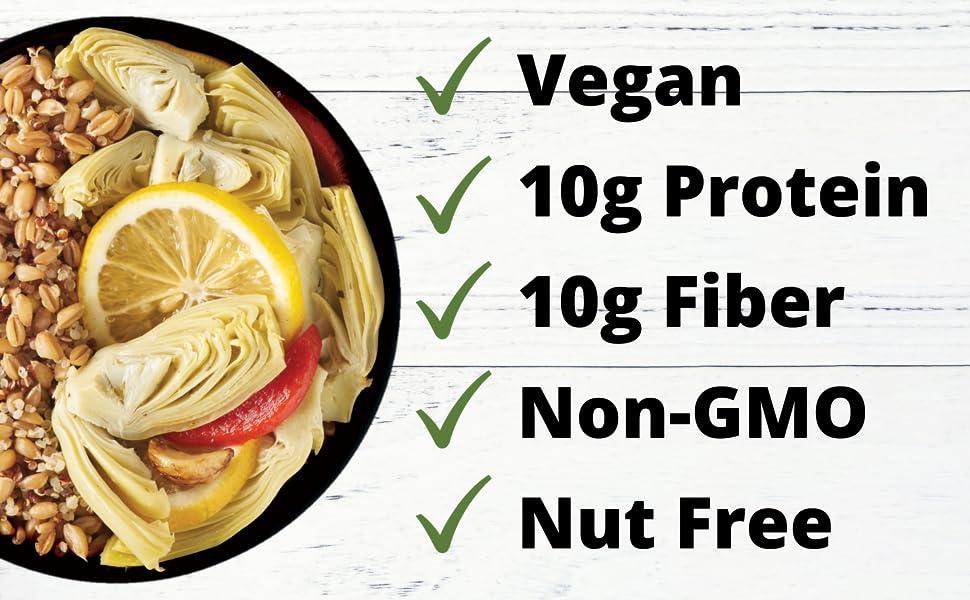 plant-based nut-free artichoke lemon farro quinoa quick meal protein non-gmo plantbased nut free