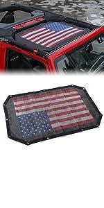 Sunshade Mesh Shade Top Cover US Flag for JK JKU 2 Door Black Red US Flag