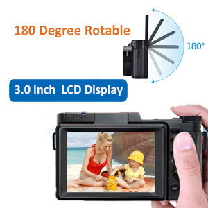 3.0 inch screen & 180 degree rotable