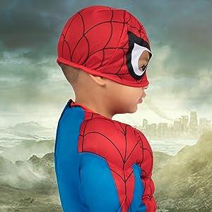 spider man jumpsuit closeup, superhero suit, red and blue, spider web print details, side view