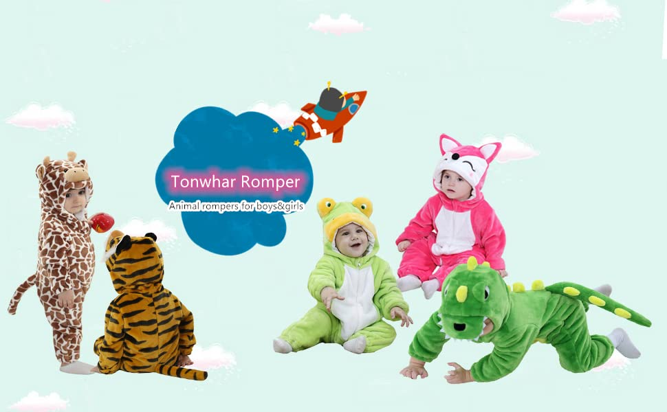 ANIMAL ROMPER 100/% COTTON Bodysuit Costume Outfit BABY BOYS GIRLS 00 0 1