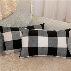 linen plaid pillow covers
