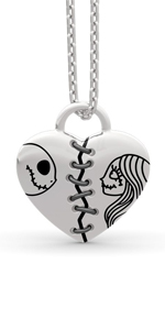 Jeulia Jack skellington and sally necklace 925 Sterling Nightmare Christmas pendant necklace