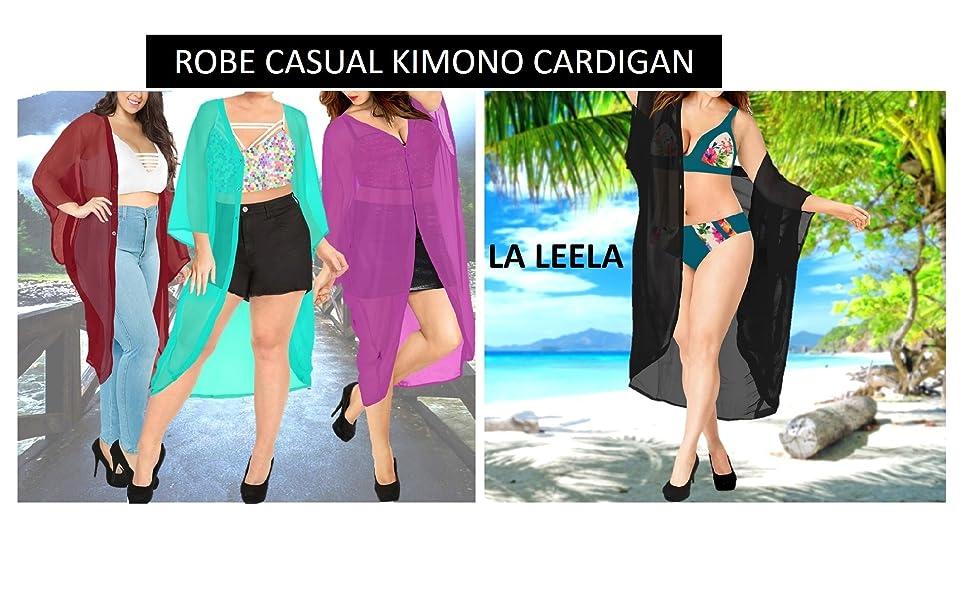 Taille Unique LA LEELA d/ét/é pour Femme en Coton Kimono Cardigan Chemisier Long Bain de Plage Bikini Cover Up Maillot de Bain