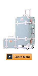 Unitravel Vintage Suitcase Set 20inch Carry on Luggage TSA Lock with 12inch Women Cute Train Case (Floral Blue)