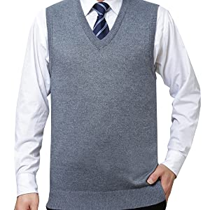 Yidarton Mens Winter V Neck Sleeveless Jumpers Classic Business Knitted Gilets Vest Tank Sweater