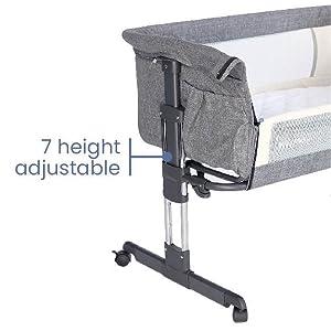 7 height adjustable - Mika Micky Bedside Sleeper Bedside Crib Easy Folding Portable Crib,Grey