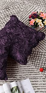3D Satin Rose Flower Throw Pillow Cover Shells