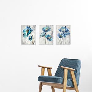blue flower prints wall art