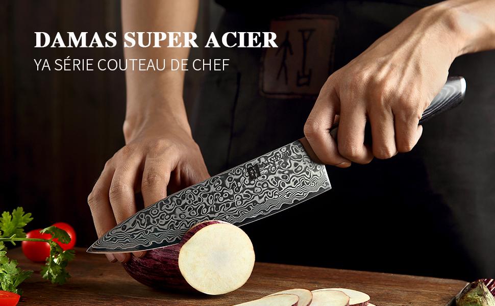 Acier de Damas Série YA classique 5 Pièces Ensemble de Couteaux de Cuisine