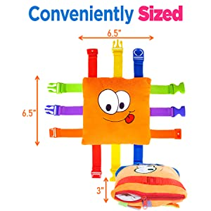 toddler plush Montessori buckle travel zipper therapy skills colors teaching preschool