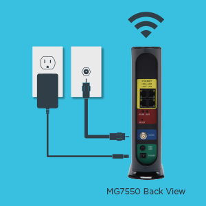 MG7550 easy setup diagram: connect coax cable, power adapter, and WiFi.