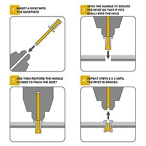 Aeccn Blindnietzange Set Nietzangen Inkl 5 Auswechselbaren Mundstücke 2 4 6 4mm Mit 50 Aluminium Nieten Schwere Ausführung Mit Griffschutz Baumarkt