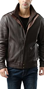 "BGSD Men's ""Brandon"" New Zealand Lambskin Leather Bomber Jacket"