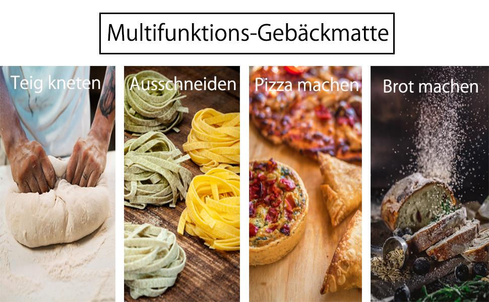 Blau Backmatte/silikon Backmatte/Wiederverwendbar mit Messungen f/ür Fondant Geb/äck Pizza Matte Backmatte Backunterlage gro/ß backmatte/BPA frei Baking mat 50x40cm