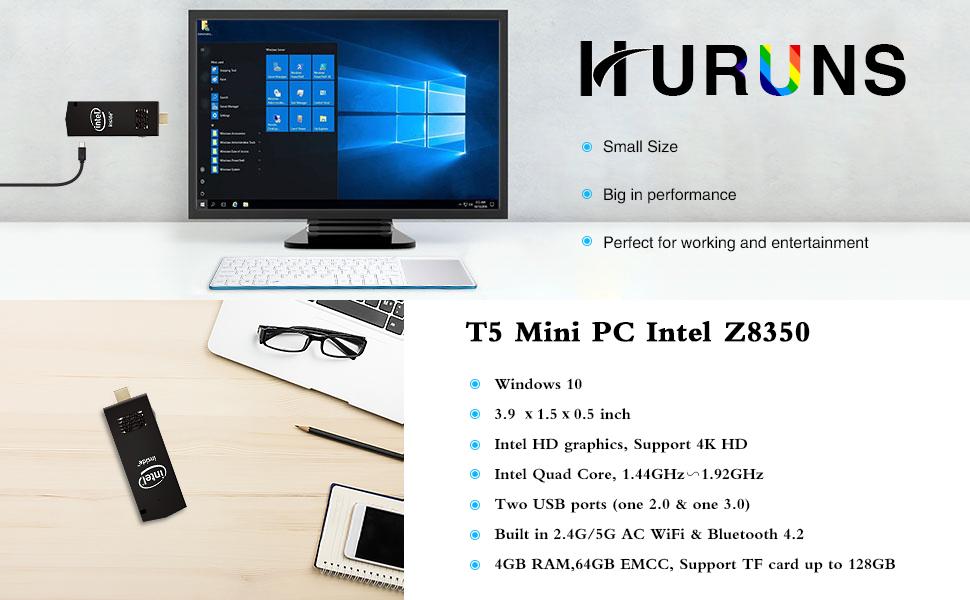 T5 Mini PC Intel Z8350 Windows 10 Pro Computer Stick 4GB DDR3//64GB eMMC Support 4K HD,Dual Band WiFi,USB3.0//USB2.0,Bluetooth 4.2