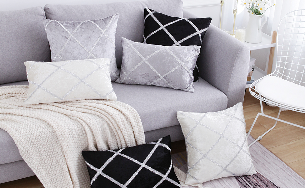 Yeadous Decorative Jacquard Diamond Bright Wire Throw Pillow Covers, 2 Pack Velvet Pillow Cover Sham Cushion Cover, Sofa Couch Throw Pillow Cover, ...
