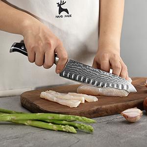 7 inch damascus santoku knife