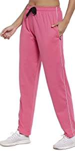 UZARUS Women's Cotton Track Pants with 2 Zippered Pockets