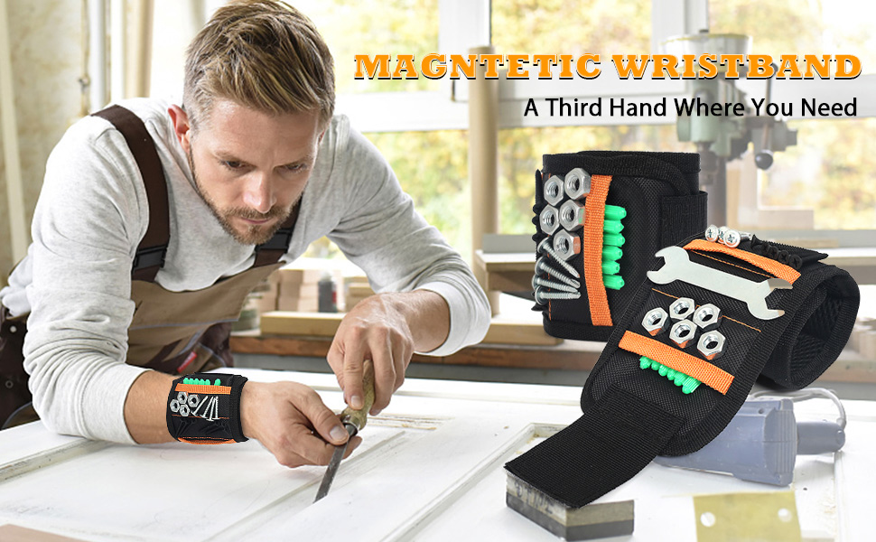 The magnetic wristband for holding screws