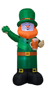 6 Feet St. Patrick's Day Inflatable Leprechaun Holding a Banner Blow Up