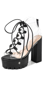 platform block chunky high heel sandals clearance peep toe shoes