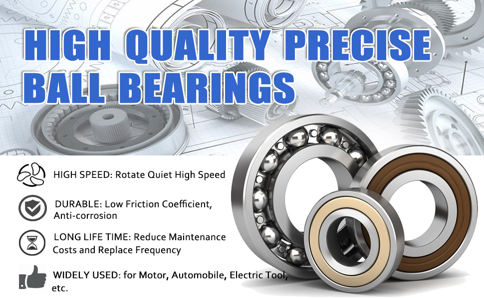 Donepart 6204RS Bearings 20mm x47mm x14mm 6204-2RS C3 High Speed Double Sealed Deep Groove Bearings 10 Pcs