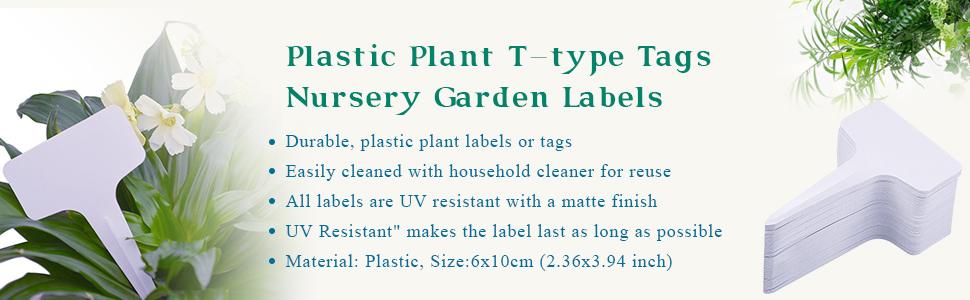 Plastic Plant T-Type Tags Nursery Garden Labels