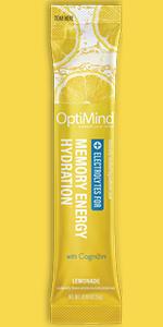 lemonade optimind alternascript water booster electrolytes drink mix powder memory energy hydration
